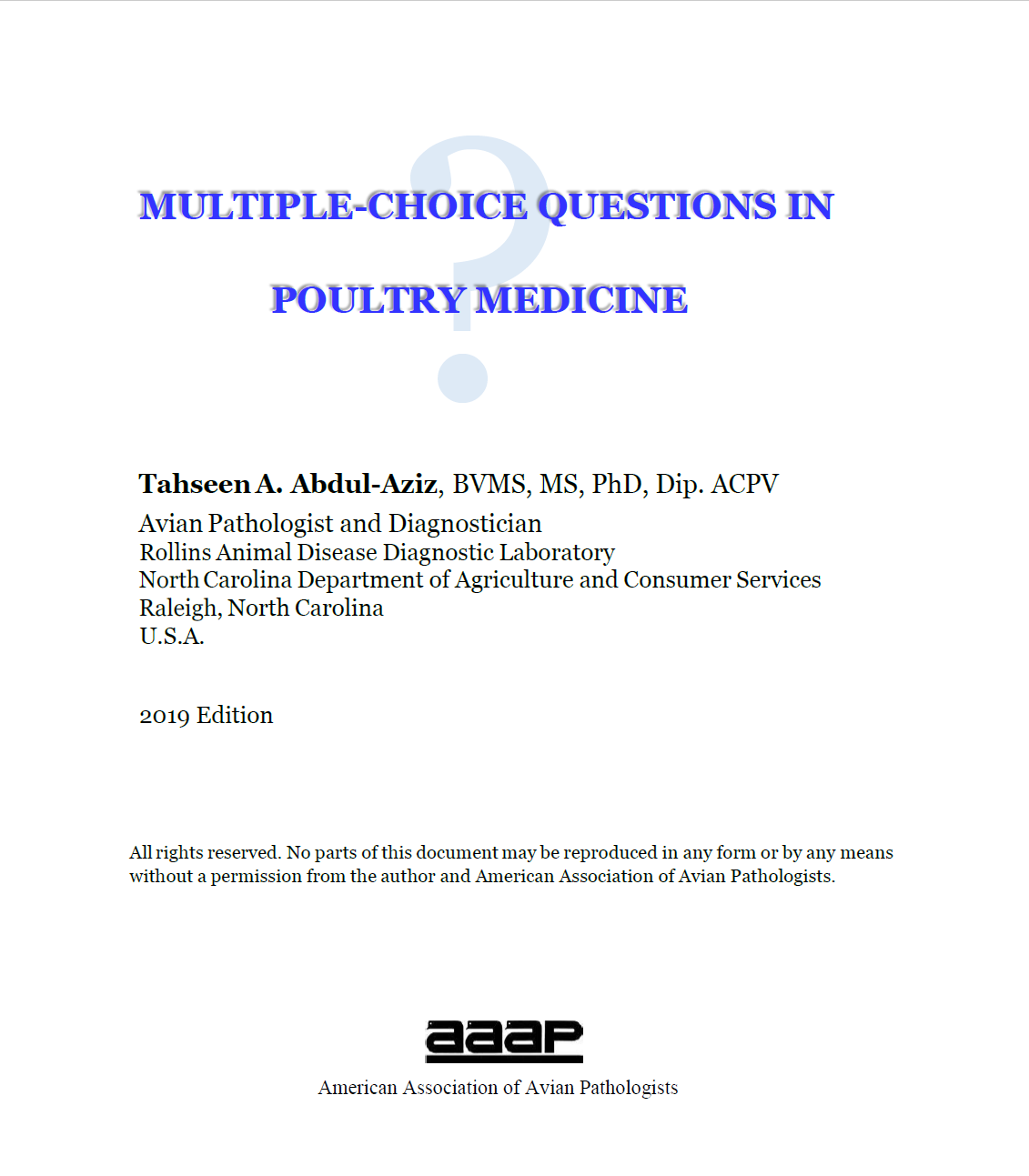 Multiple-Choice Questions in Poultry Medicine
